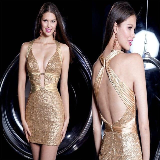 8c761139e6 Stunning Low Cut Neckline Backless Gold Short Sheath Open Back Sequin Satin  Sexy Cocktail Dress