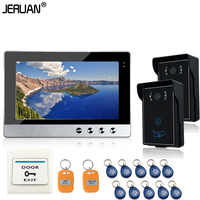 JERUAN Brand New Wired 10 inch TFT screen Video Intercom Door Phone System With RFID Two Night Vision Outdoor Camera waterproof