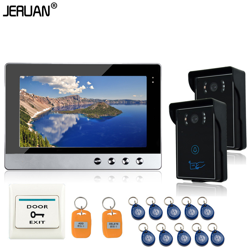 JERUAN Brand New Wired 10 inch TFT screen Video Intercom Door Phone System With RFID Two Night Vision Outdoor Camera waterproof 7inch video door phone intercom system for 5apartment tft lcd screen 5 flat indoor monitor with night vision cmos outdoor camera