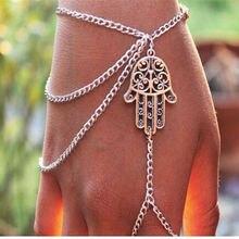European and American fashion personality jewelry retro bergamot tassel chain even finger bracelet female j