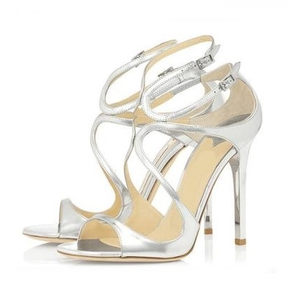 Gullick Metallic Leather Strappy Sandal High Peep Toe Cross Strap High Heel Dress Shoes Woman Cut-out Gladiator Sandal Boots