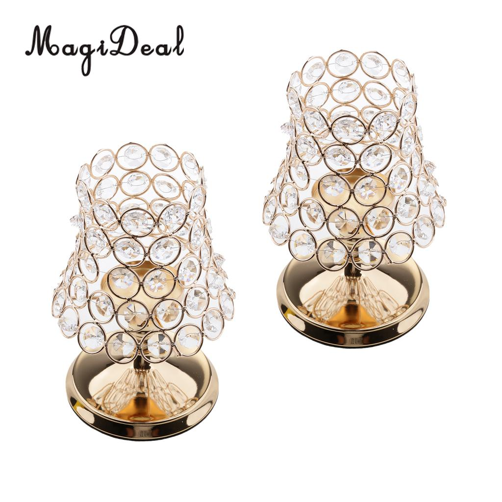 2 Pieces Crystal Votive Tea Light Candle Holder Candlestick Lantern Home  Cafe Tabletop Centerpieces 19cm H