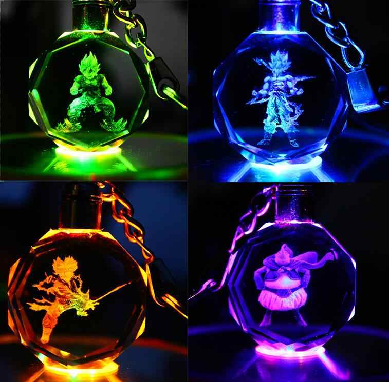 Anime Dragon Ball Z Resin Figure Keychain Led Holder Figure Son Goku Vegeta BUU Son Goku Jr Keyrings Key Toys Led Goku Keychain