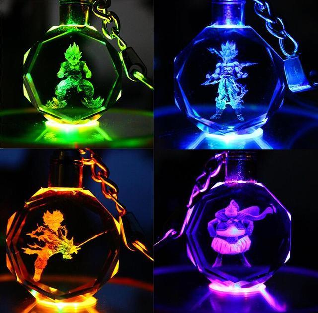 Anime Dragon Ball Z Figura da Resina Keychain Levou Titular Figura Son Goku Son Goku Vegeta BUU Jr Chave Chaveiros Brinquedos led Keychain Goku