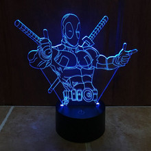 7 Color Changing Hero Deadpool 3D light LED Night Light USB touch LED Decorative LED Table Lamp Colorful Desk Lighting IY803397