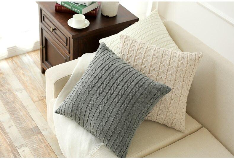 HAKOONA 45*45M 55*55CM Cotton Double Cable Knitting Pattern <font><b>Cushion</b></font> cover Throw Pillowcase For <font><b>Home</b></font> Decor Sofa Warm