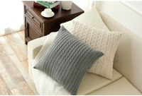 HAKOONA Retro Double Sided Cotton Cushions Office Car Lumbar Pillow Cover Cable Knit Thread Decorative Pillow