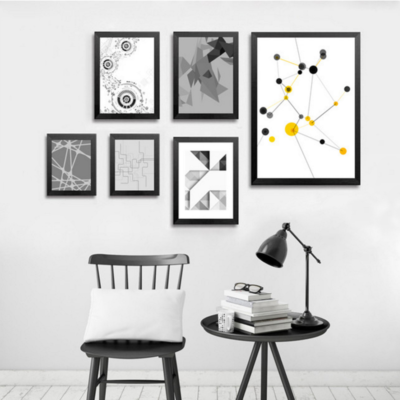 Abstrakt Kətan Rəsmi Minimalist Həndəsi afişalar Ofis Qonaq otağı üçün Nordic Divar Sənəti şəkillərini çap edir.