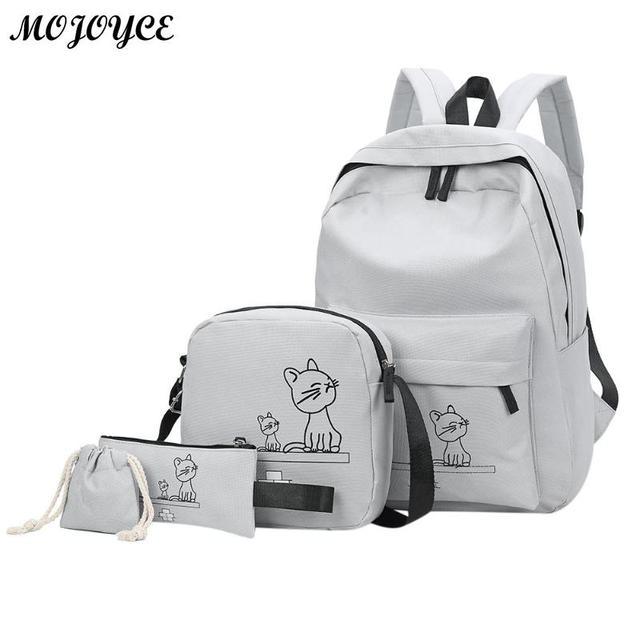 4pcs Set Student Backpack Cute Cartoon Cats Printed Women Backpacks Travel  School Shoulder Bags Clutch 86d201f2e24c5