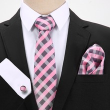 New Grey Pink Plaid 100%Silk Jacquard Woven Men Tie Red Paisley Hanky Cufflinks Set Classic  Neck Ties For Wedding/Office