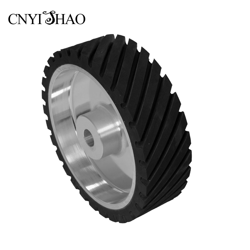 CNYISHAO Rubber Contact Wheel 300*50/75/100mm Serrated Polishing Wheel Belt Sander Set for Knife Grinding 8 inch 50mm thickness serrated rubber contact wheel belt sander polishing wheel abrasive belts set