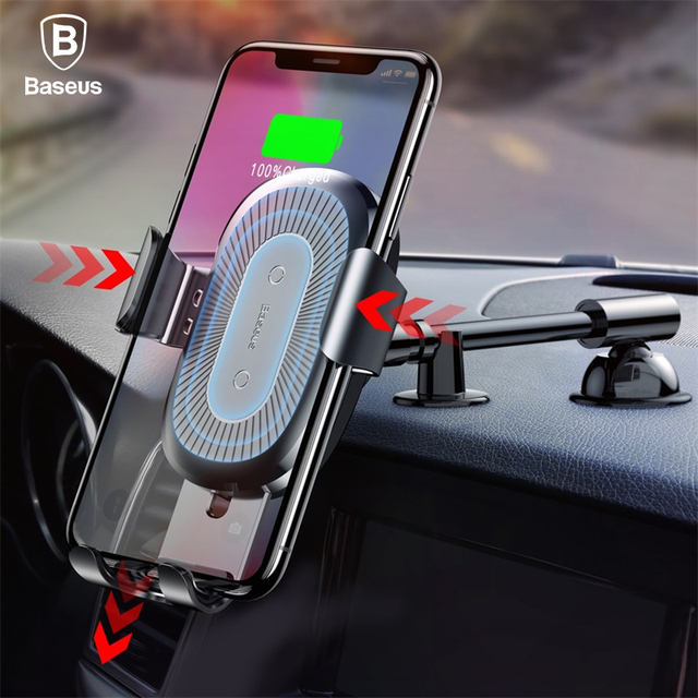 baseus qi wireless charger gravity car holder for iphone x 8 quick charge wireless car phone