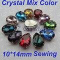 Bsz04 hechos a mano 10 x 14 mm 10 unids/lote gotas de coser cristales piedras con garras ajustes 4 agujeros de los Rhinestones a granel coser en la confección