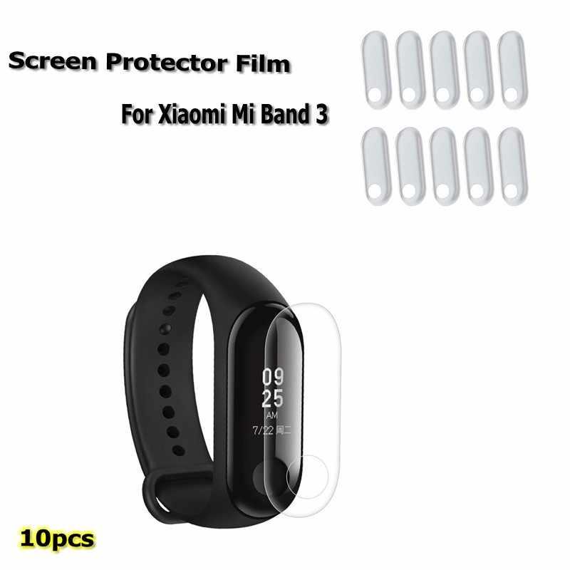 10 sztuk folia zabezpieczająca ekran dla Xiao mi mi Band 3/4 inteligentna opaska na rękę bransoletka pełna ochrona telefonu filmy nie hartowane szkło
