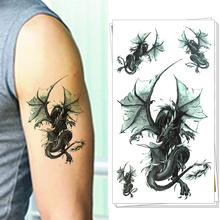 Danger Dragon Army Man Style Temporary Body Art Flash Tattoo Stickers, 17*10cm Waterproof Henna Tatoo Summer Adult Sex Products