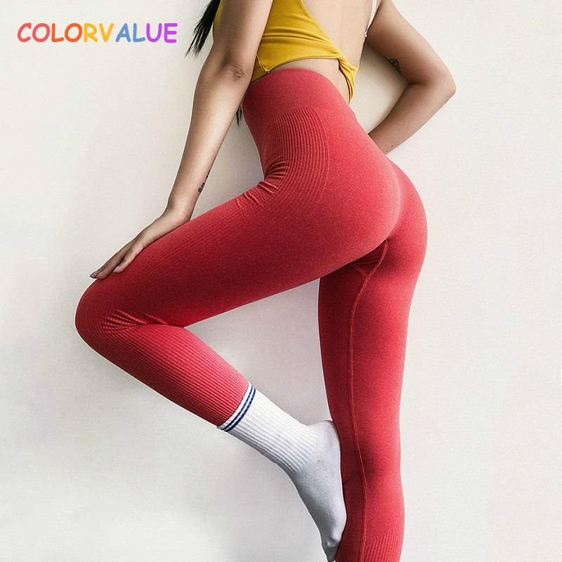 Colorvalue 10Colors Mention Hip Fitness Sport Yoga Pants Women High Waist Seamless Running Tights Stretchy Athletic Gym Leggings