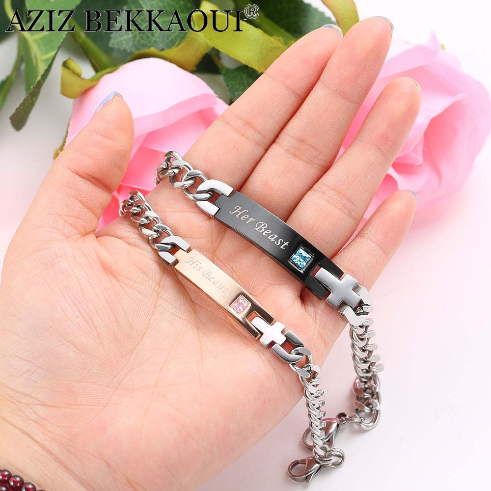 AZIZ BEKKAOUI Couple Bracelets with Box Best Gift Bracelets For Women Stainless Steel Men Female Fashion Jewelry Drop Shipping