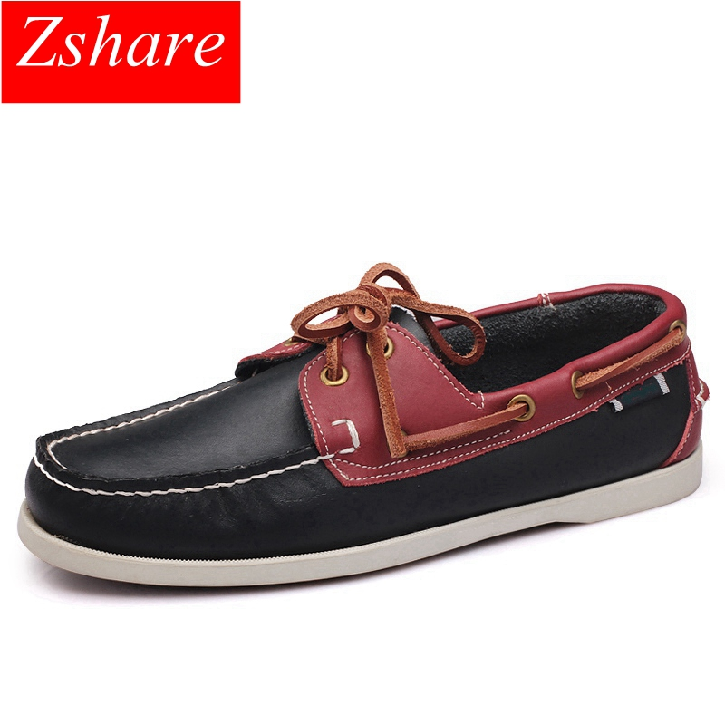 Brand Genuine Leather Men Shoes Boat Shoes Men Moccasins Business Slip On Mens Loafers Design Hand Sewing Casual Driving Shoes