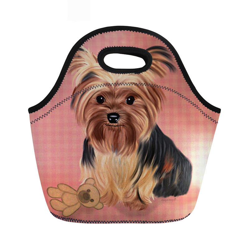 Yorkie Neoprene Thermal Lunch Bag Insulated Women Cute Dog Print Cooler Storage Picnic Bags For Children Torba Termiczna