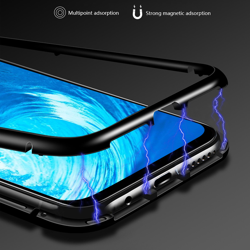 buy popular 7e896 18e86 Magnetic Flip Case For Huawei Honor 8X Case Clear Tempered Glass Back Cover  Metal Frame Bumper Coque For Huawei Honor 8X
