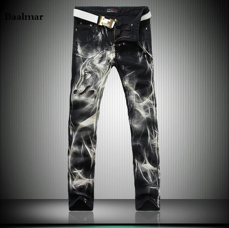 Nightclubs Printed Jeans Men Slim Pencil Jeans 2017 Fashion Men's Elastic Jeans Long Pants Casual Trousers Large Size 28-38 new printing jeans men s slim feet pants korean flower pants nightclubs hairdressers thin style summer mens trousers size 28 38