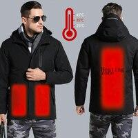 Для мужчин Зимние открытый интеллектуальный USB работать с капюшоном Отопление куртка пальто регулируемый Контроль температуры безопаснос