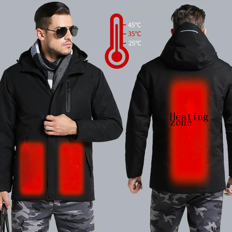 Men's Winter Outdoor Intelligent USB Work Hooded Heating Jacket Coats Adjustable Temperature Control Safety Clothing DSY0012