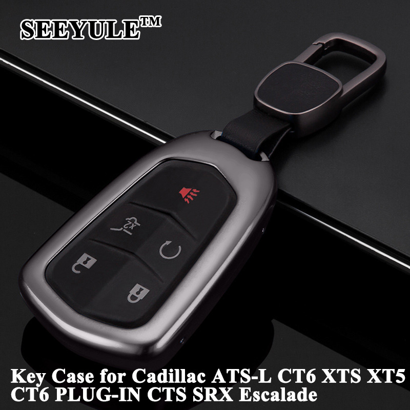 1pc Seeyule Aluminum Alloy Deluxe Car Key Case Key Shell Cover Storage Bag Protector For Cadillac Ats-l Ct6 Cts Xt5 Srx Escalade