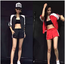 plus big size 2016 new summer autumn zipper black red white blue women two piece sets female 2 pieces suits jackets shorts B0293