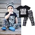 + Длинные брюки плед черный письмо 2 шт. мода наряды установить 2 шт. комплект одежды летние мальчиков малыша дети костюм Casaul