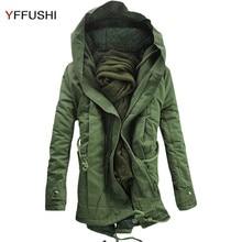 YFFUSHI 2017 New Long Winter Jacket Men Amy Green Parka Jackets Men With Hat Winter Coat Fashion Casual Style Plus 5XL