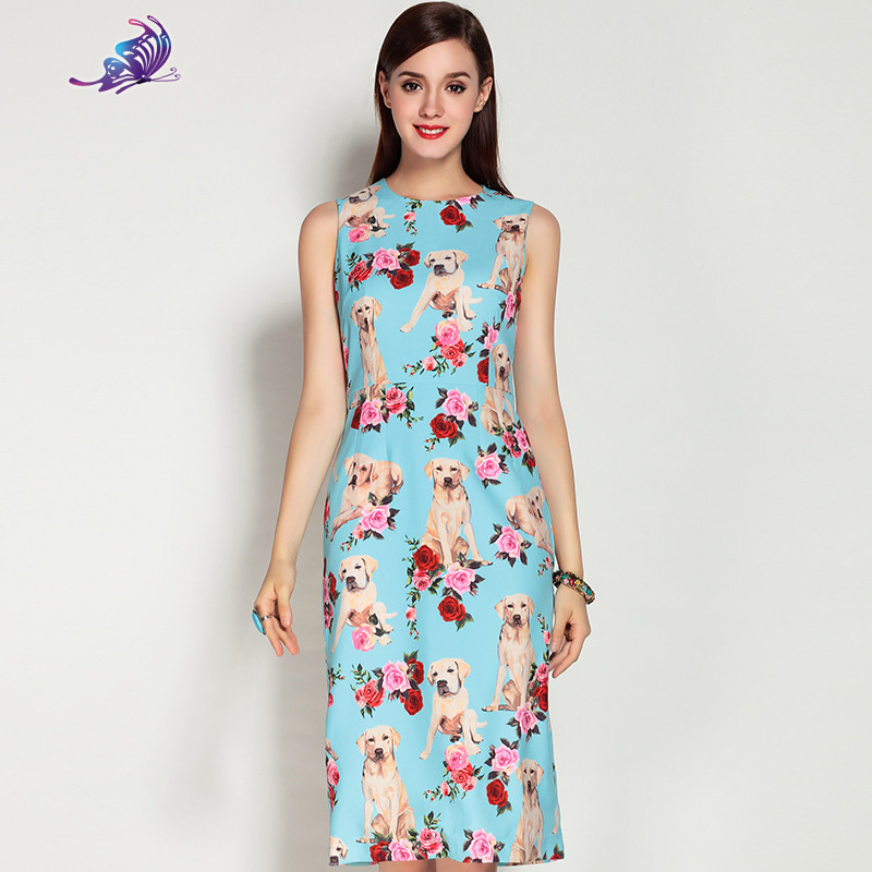 Fashion Summer Dress 2017 Brand Designer Women's Sleeveless Cute Dog Rose Flower Beading Printed Knee length Dress Free EXPRESS