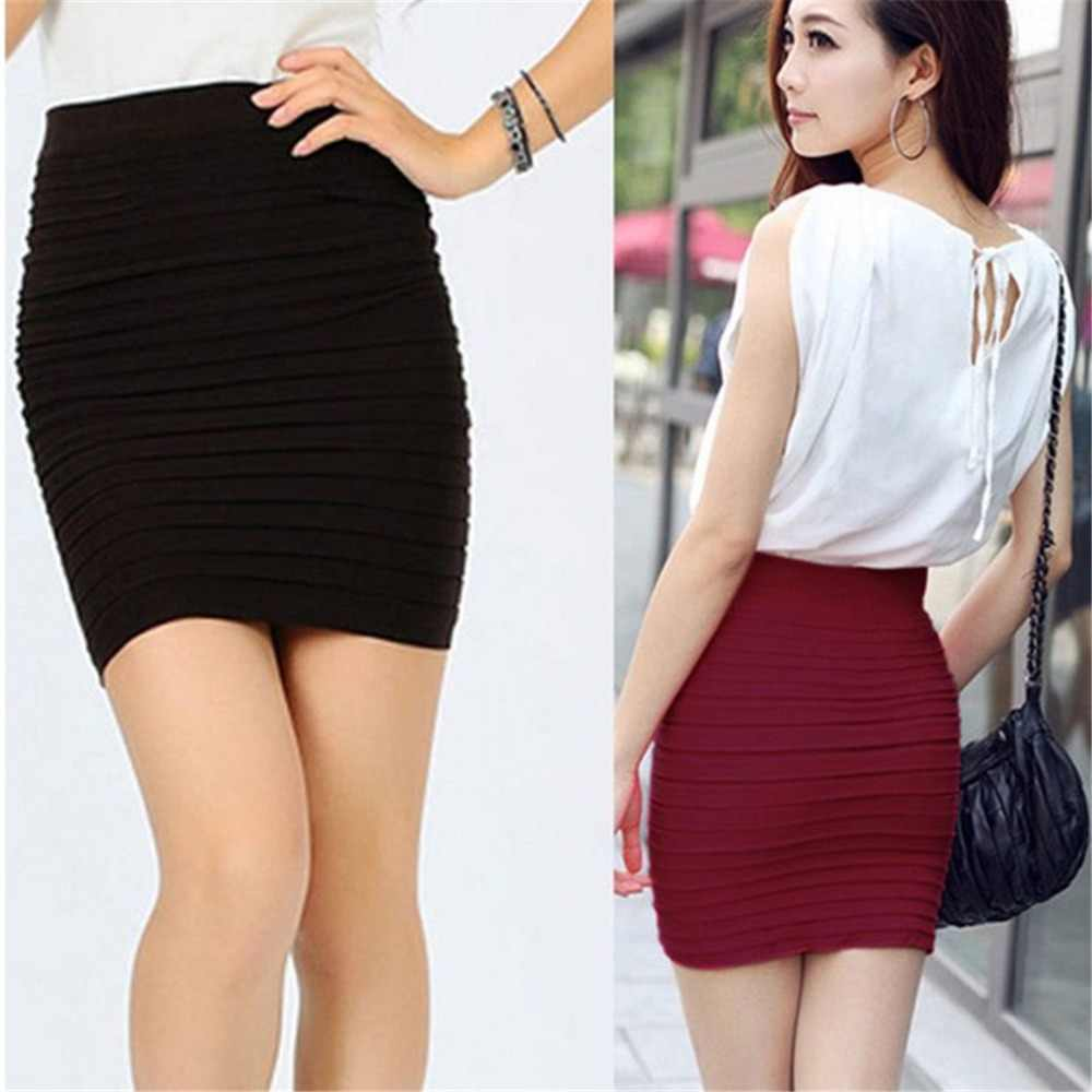 2019 Summer Women Skirt High Waist Knitting Pleated Skirt Candy Color Plus size Elastic Knitted Mini Skirts Sexy Short Skirt