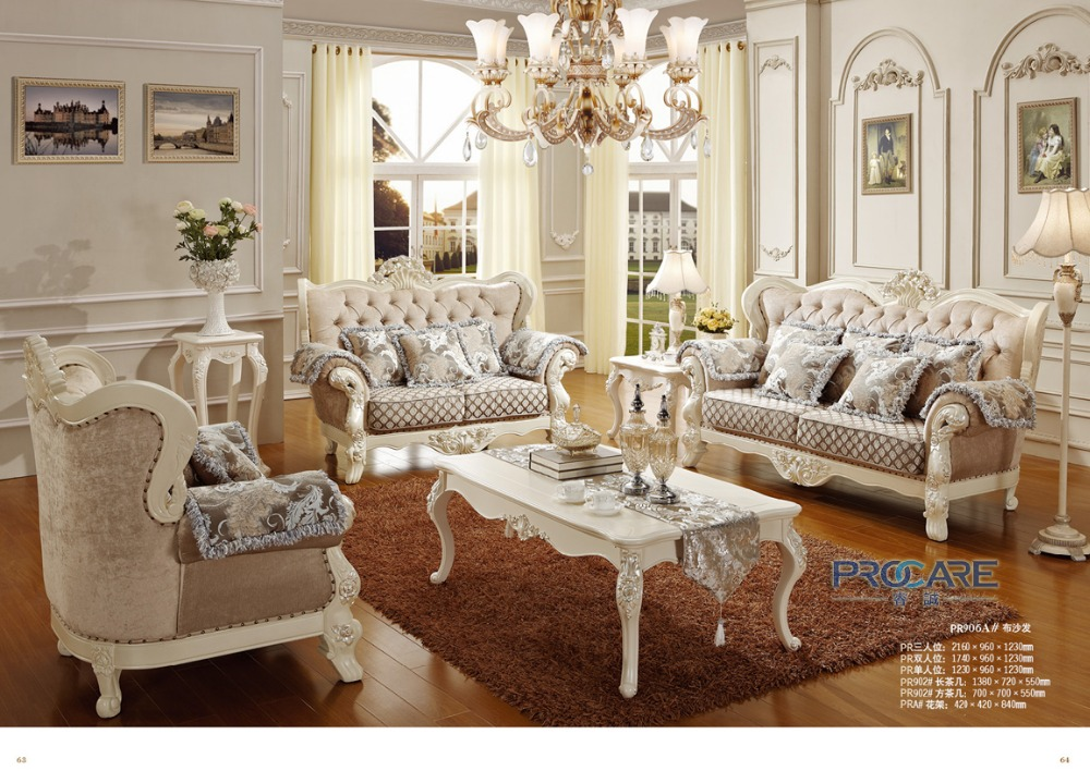 2016 Sofas For Living Room Luxury European Style Fabric Couch Sofa Set Furniture Baroque Made In