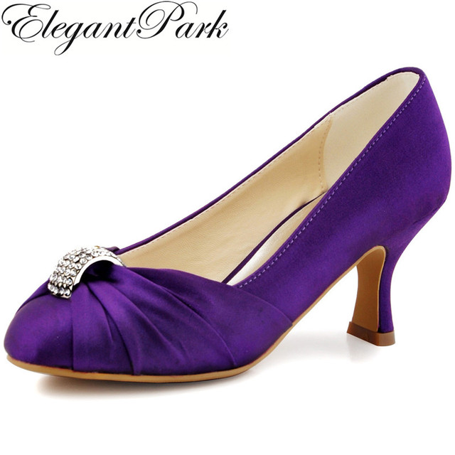 96abcfa5eae Women Shoes Purple High Heel Close Toe Rhinestone Satin Bridesmaid Lady Evening  Dress Bridal Wedding Pumps