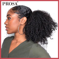 4B 4C Afro Kinky Curly Ponytails Extensions One Piece Mongolian Clip In Human Hair Extension Ponytails Natural Color Prosa Remy