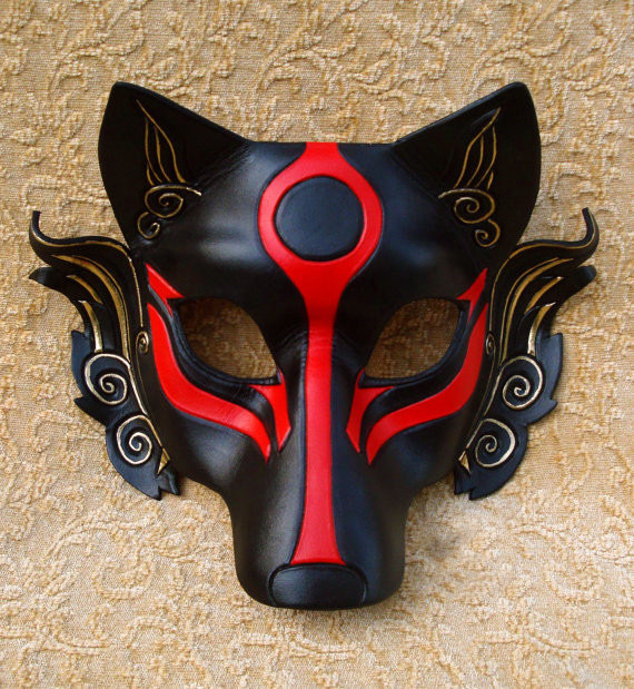 Half Face Leather Japanese Samurai Wolf Head Cosplay Mask Masque Halloween Party - JCCB store