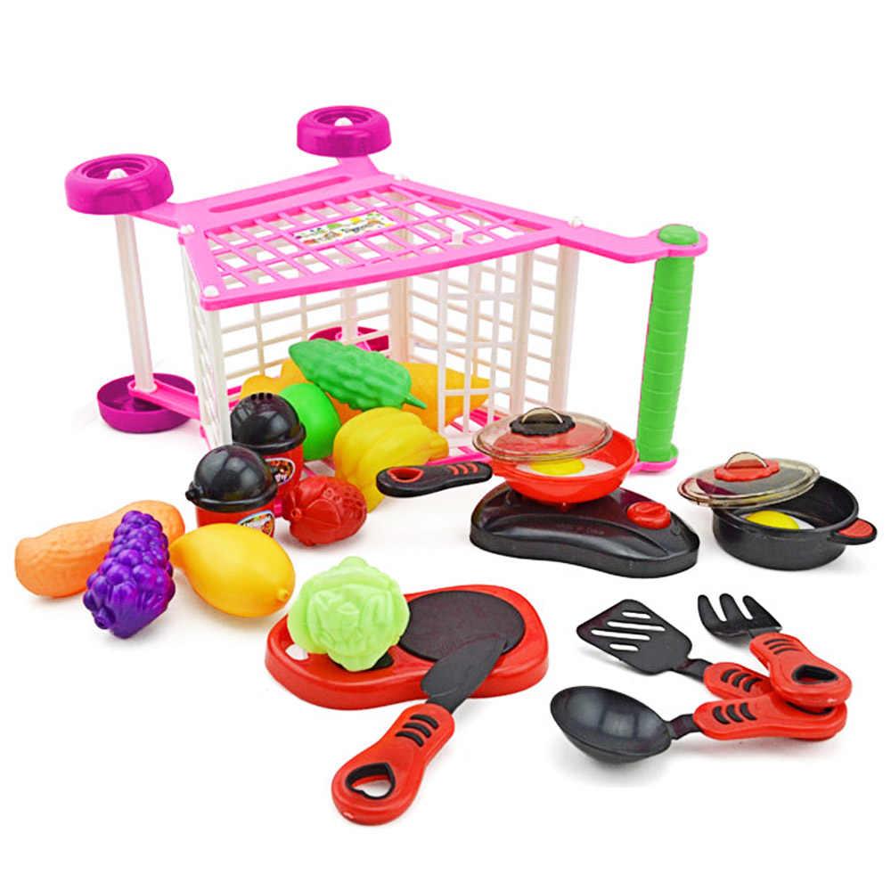 Chico de plástico Mini simulación de compras de supermercado carro carrito centro de compras de carro que Escritorio decoración juguete