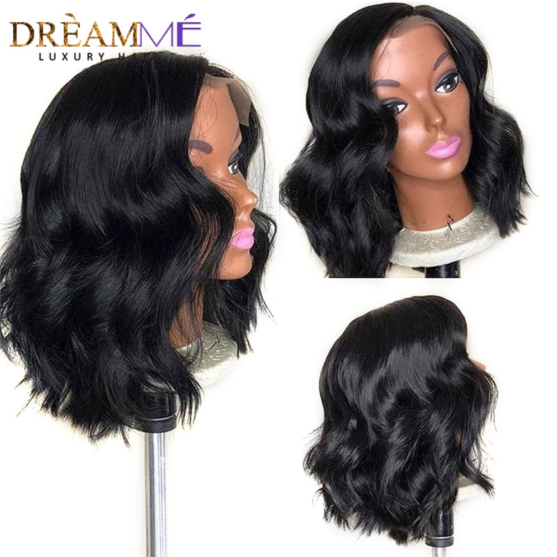 Short Lace Front Human Hair Wigs 130 Density Brazilian Wave Remy Hair Bob Wig with Pre