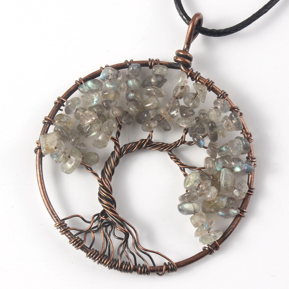Kraft-beads Trendy Copper Wisdom Tree of Life Pendant <font><b>Labradorite</b></font> <font><b>Necklace</b></font> Link Chain Stone Jewelry image