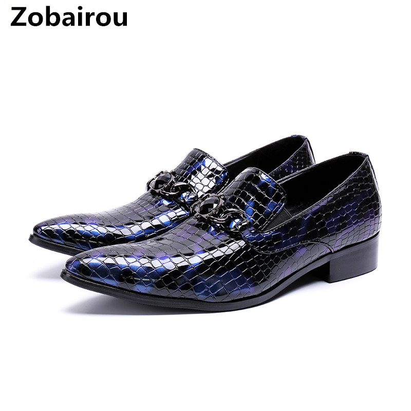 Men's Shoes Zobairou Fashion Designer Python Skin Genuine Leather Oxford Shoes Ofr Men Pointed Toe Dress Wedding Loafers Blue Prom Brogues