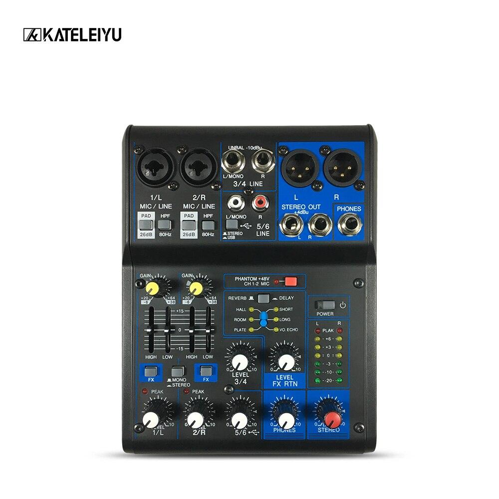Mini 6-Channel Karaoke Microphone Digital Audio Integrated 48V phantom power with USB Professional DJ Mixer Effects Processors