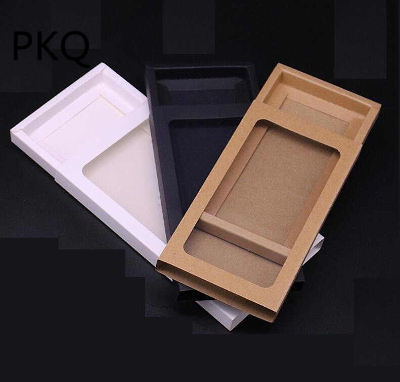 10pcs Black White Kraft Paper Drawer Box With Pvc Window Phone Case Packaging Gift Packing Paper Window Box Distinctive For Its Traditional Properties Gift Bags & Wrapping Supplies