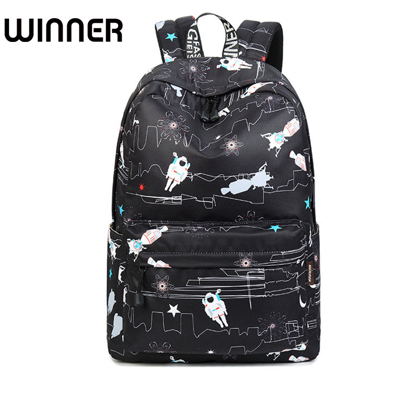 Fashion Waterproof Polyester Fabric Women Backpack Large Capacity Black Astronaut Pattern Printing Girls Schoolbags fashion 15 6 inch waterproof fabric women backpack pink cute sushi cuisine pattern printing large capacity girls bookbags