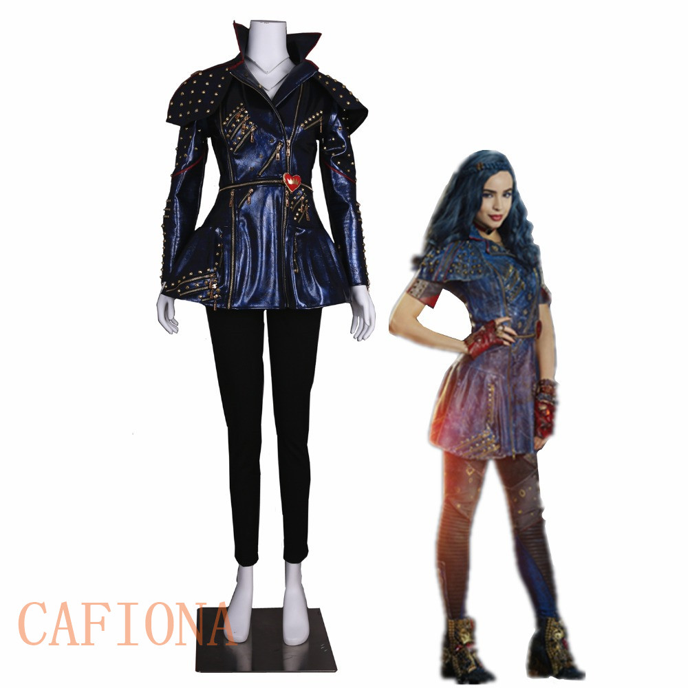 Cafiona Descendants 2 cosplay Mal Cosplay costume Leather jacket punk style  Custom Made size party top