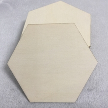 WOODEN HEXAGON PLAIN UNFINISHED WOOD CRAFT FOR DISKS