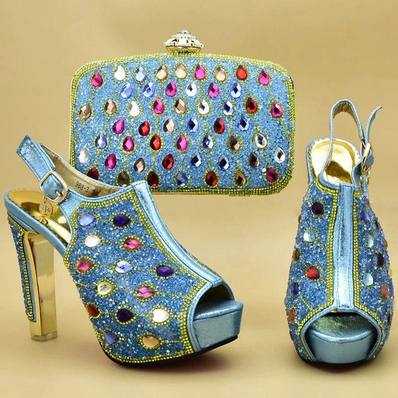 Italia Mujer Bolsos Con sky oro Nueva Fiesta Imitación Bolsa Moda purple A De Juego En Diamantes Blue Africana Zapatos Decorado pink Y Nigeria Azul wSA7SqZBI