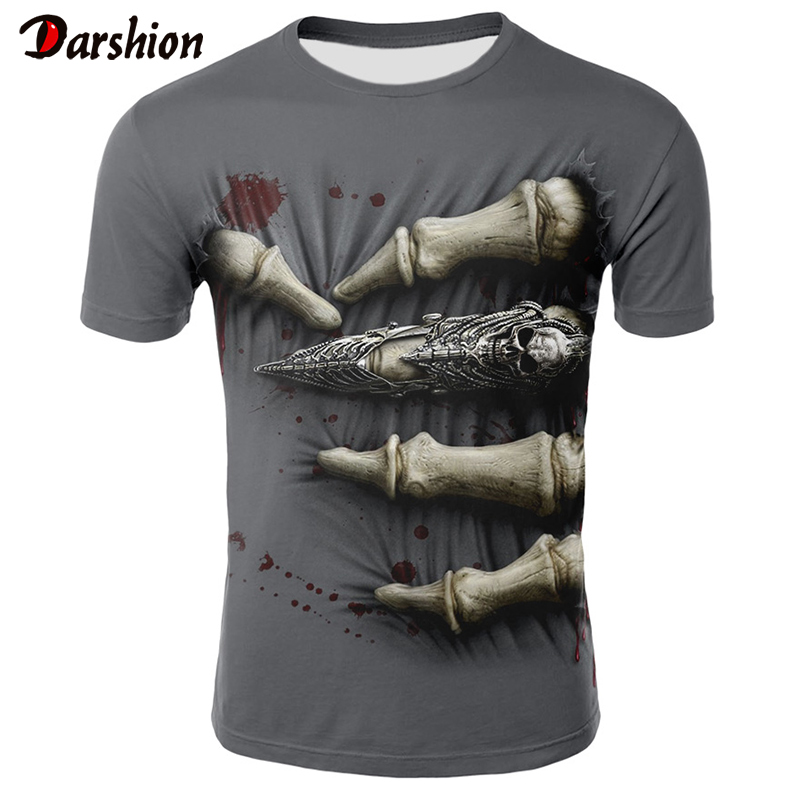 Men New 3D Print T-shirts Blood Drop Finger T Shirt Men Casual Shirt T-shirt Short-sleeved Tops Hip Hop Style Clothes  Mens Tees