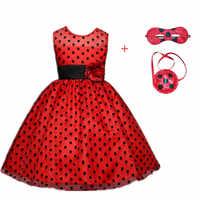 Karneval 2019New Rot bug cosplay Mädchen Kleid Sommer Kleidung Dot bug Party Kleid Kinder der tag Spitze Dot Baby Mädchen kleider