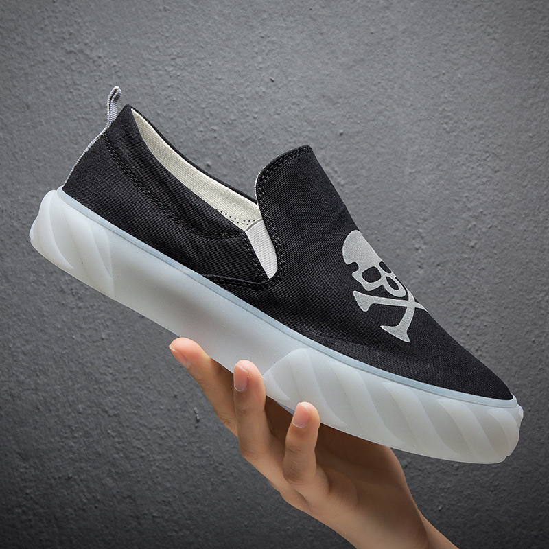 Pirateskull Slip On Canvas Upper Loafers Canvas Shoes for Women Fashion